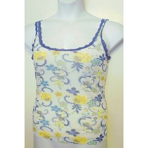Cosabella Blue Lace White Tank Top M Yellow Flower